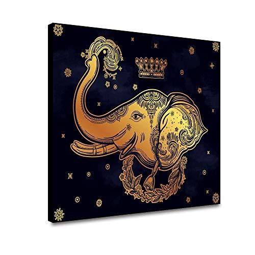 RTCKF Gold Elephant Canvas Painting Animal Abstract Posters and Prints Herramientas de Pared Arte de la Pared Pintura de la Lona decoración de la Sala decoración del hogar A3 50x70cm