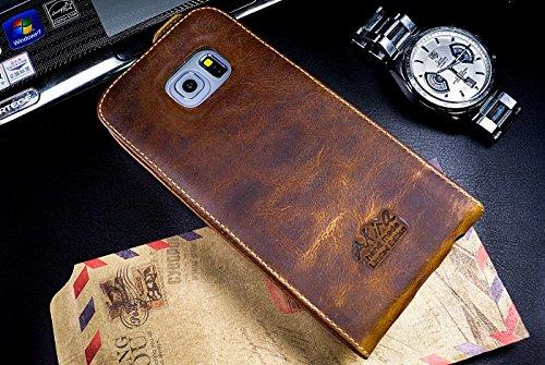 Urcover Akira Hand Made [Echt Leder] Handyhülle kompatibel mit Samsung Galaxy S7 Edge Flip Limited Edition Wallet Cover Handgemacht Case Schutzhülle Etui Flip Wallet Pen Dunkel braun