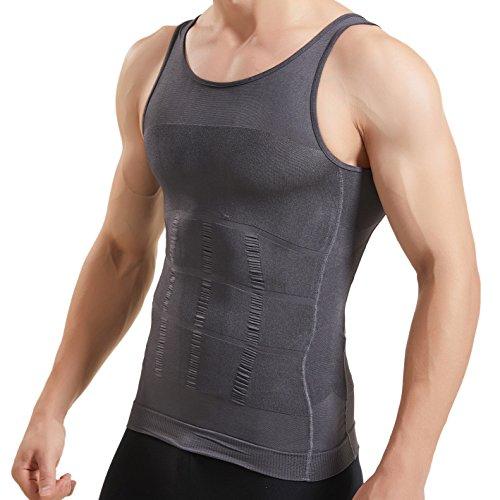 HANERDUN Kompressionsunterwäsche   Herren Tanktop   figurformendes Unterhemd für Männer   Sport Fitness   T-Shirt Bodyshaper Bauchweg,Grau,L