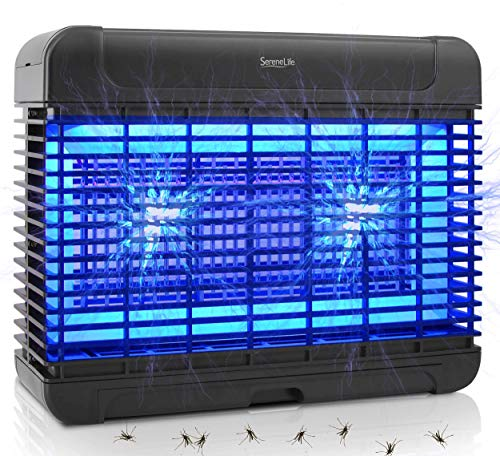 Indoor Home Electric Bug Zapper - Heavy Duty 222 Sq Yard Coverage Electronic Anti Flying Insect Killer Lantern Lamp Trap w 16pc UV A LED Light Bulb Attractant - SereneLife PSLBZ54, Black