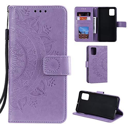 CoverKingz Handyhülle für Samsung Galaxy A51 - Handytasche mit Kartenfach A51 Cover - Handy Hülle klappbar Motiv Mandala Lila