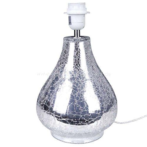 Lampenfuß crackle Glas rund Lampe Leuchte Lampenfuss