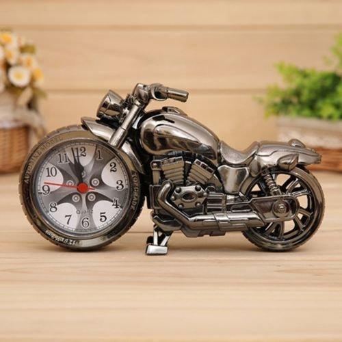 Markenlos Tolle Motorrad Uhr mit Wecker,Biker Uhr,Chopper Silber