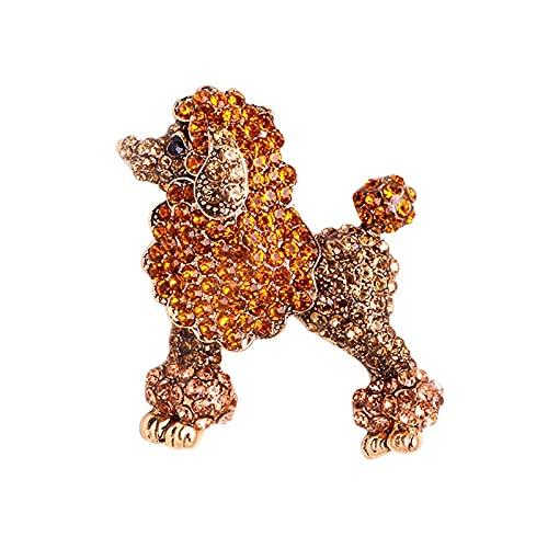 Broches de perro caniche con diamantes de imitación brillantes, broches informales para fiesta de animales para mujer, regalos
