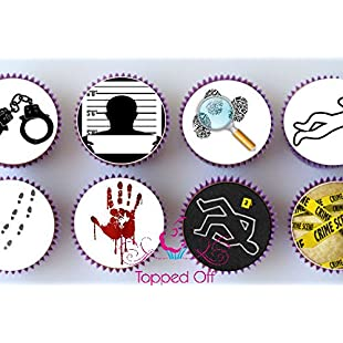 24 pre-cut Crime Scene, Murder Mystery themed round pre-cut edible cup cake topper decorations by Topped Off
