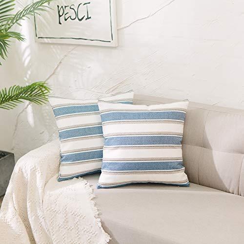 Natus Weaver - Funda de cojín de lino a rayas, poliéster Lino, Azul marino-blanco, 16'x16',2 Piece