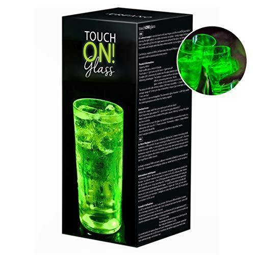 touchON!glass Creano Ausgefallenes Trinkglas/Longdrinkglas touchON!glass, Leuchtglas mit LED-Lichteffekt, 300ml, grün