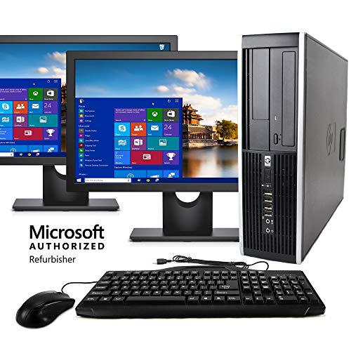 HP Elite Desktop Computer, Intel Core i5 3.1GHz, 8GB RAM, 1TB SATA HDD, Keyboard & Mouse, Wi-Fi, Dual 19in LCD Monitors (Brands Vary), DVD-ROM, Windows 10, (Renewed)
