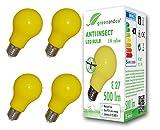 4x greenandco Anti-Insekten LED Glühbirne E27, 560-580nm Wellenlänge, gelb, Nicht dimmbar, 2 Jahre Garantie