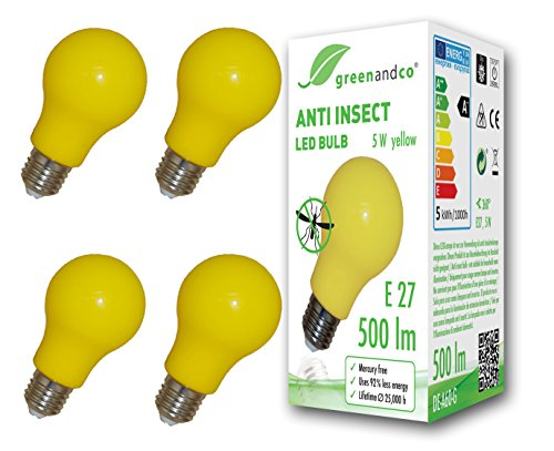 4x greenandco® Bombilla anti-mosquitos, anti-insectos E27, amarilla, 5W, 500lm, longitud de onda 560-580nm, no regulable