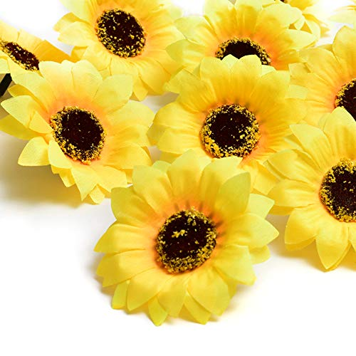 """YEDREAM Artificial Sunflower Heads, 2.8"""" Fake Simulation Flower Head for Home Party Wedding Cake Decoration, 50 PCS (Bright Yellow)"""