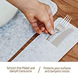 Miqio® Design Filz Tischset abwaschbar   Mit Marken Echtleder Label   18er Set - 6 Platzsets abwaschbar, Glasuntersetzer, Bestecktaschen   dunkel grau anthrazit   Filzmatte Platzdeckchen abwischbar - 2