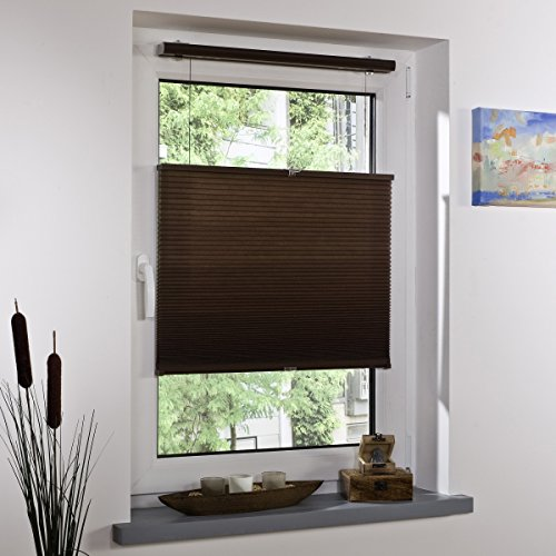 Liedeco® Klemmfix Thermo-plissé vrijhangend klemdragers / 43x60 cm mokka/gekleurd voor klemmen/zonwering raamdecoratie binnen/lichtdoorlatend Blickdicht verstelbaar/montage zonder boren