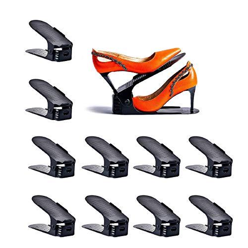 Yashong Shoe Slots Organizer 10PCS Adjustable Double Layer Stack Shoe Rack  50 Space-Saving Storage Rack Holder Black