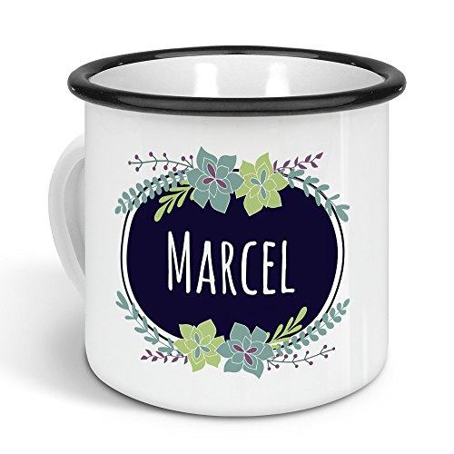 printplanet - Emaille-Tasse mit Namen Marcel - Metallbecher mit Design Flowers - Nostalgie-Becher, Camping-Tasse, Blechtasse, Farbe Schwarz, 300ml