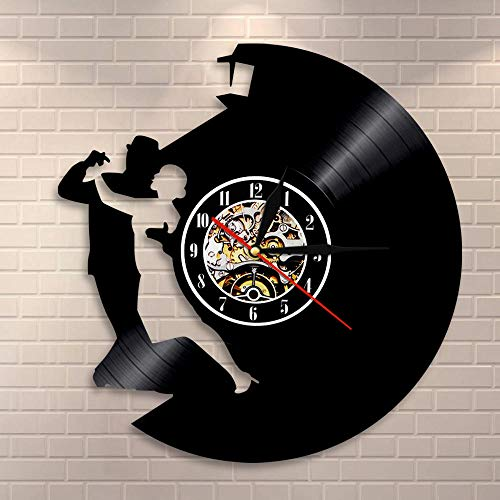 HCPGZ Baile de salón Arte de Pared Reloj de Pared Vals Disco de Vinilo Reloj de Pared Pareja Bailarines Baile Decoración para el hogar Regalo de Compromiso de Boda