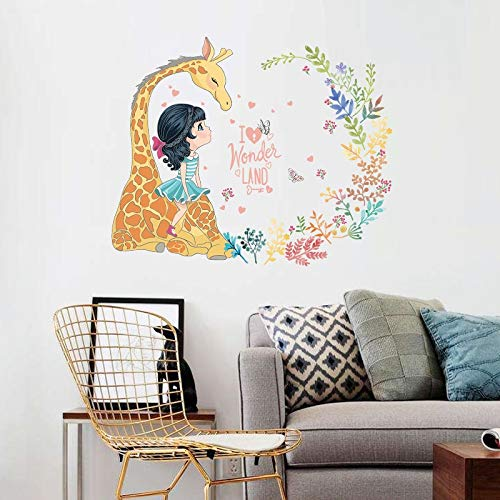 ZXFMT Muurstickers Giraffe meisjes kleuterschool woonkamer slaapkamer afneembare zelfklevende deur meubels muursticker sticker decor art poster muurschildering