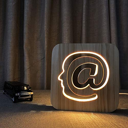@ 3D Lampe en bois LED Night Light Home Room Decoration Lampes de table créatives pour IT homme cadeau