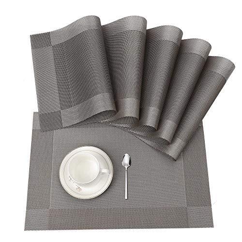 Tischset, Platzset 6er set Rutschfest Abwaschbar PVC Abgrifffeste Hitzebeständig Platzdeckchen für Zuhause Restaurant Speisetisch(Braun / Silber)