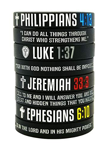 8-Pack Christian Bible Verses Silicone Bracelets   Religious Gifts Rubber Wristbands for Men, Women, Teenagers   Strength Faith Hope Belief   Positive and Inspirational Messages