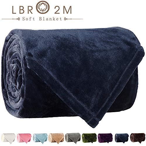 LBRO2M Fleece Bed Blanket Queen Size Super Soft Warm Fuzzy Velvet Plush Throw Lightweight Cozy Couch Blankets (90x90 Inch) Royal Blue