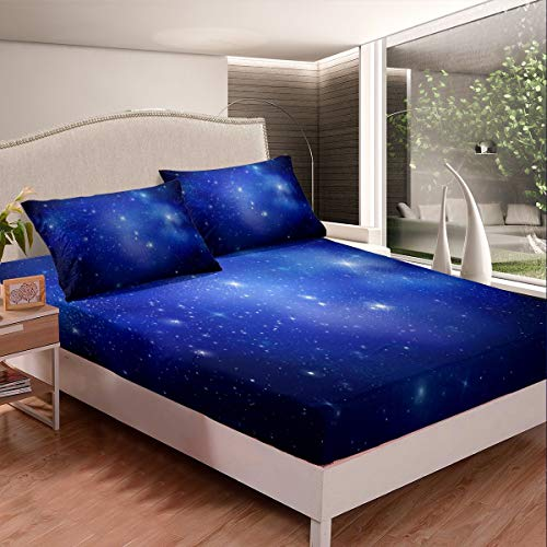 Juego de cama Galaxy para niños y niñas, juego de sábanas con diseño de cielo estrellado y nebulosa azul, colección de 3 unidades de tamaño doble