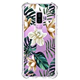 Galaxy S9 Plus Case Shockproof Protective Case Clear with Tropical Flowers Palm Tree Leaves Design Pattern Print Cute Cell Phone Cover for Samsung Galaxy S9 Plus 6.2 Inch Hawaii Summer Floral Sim Fit