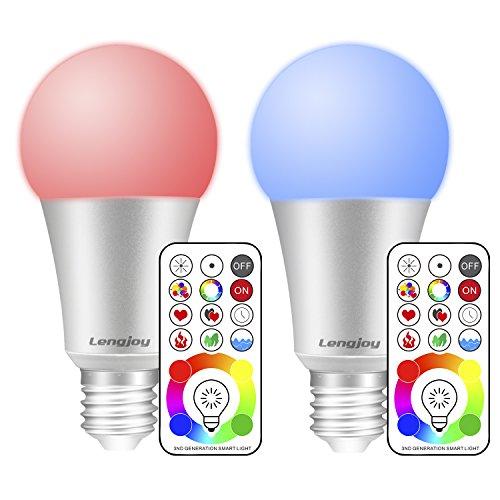 (2 Pack) LED RGBW Lampe mit Fernbedienung,10W LED Farbwechsel Lampe,A19 E27 Base Dimmbare,120 Farben RGB glühbirne,mit RGB und kaltweißes Licht,RGB + Weiß