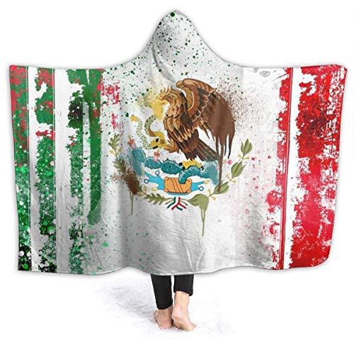 Manta con capucha y capucha de la bandera de México con capucha para niños pequeños, reversible, sofá cama, chal de franela con mangas, 152 x 127 cm