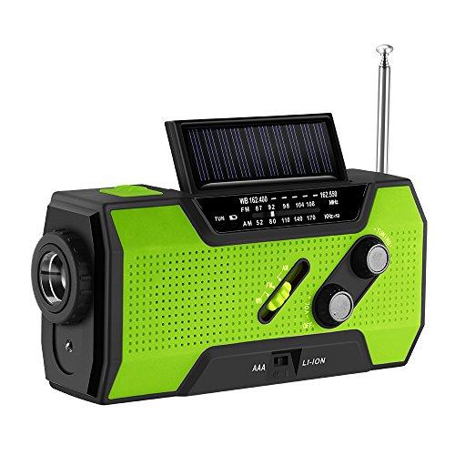 Kurbelradio mit Handyladefunktion Solar, FORNORM Tragbares Notfallradio Powerbank mit Taschenlampe und USB Ladegerät, AM/FM/NOAA, 4 Modi Aufladen, SOS Alarm für Wandern Camping Ourdoor, Grün