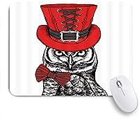 EILANNAマウスパッド レトロなハイハット蝶結び付きの面白い漫画の動物フクロウの鋭い機知に富んだ注視 ゲーミング オフィス最適 おしゃれ 防水 耐久性が良い 滑り止めゴム底 ゲーミングなど適用 用ノートブックコンピュータマウスマット