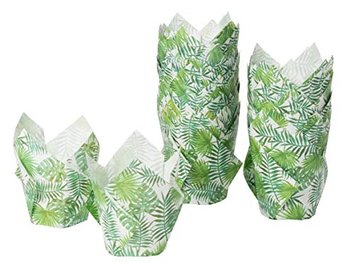 Tulip Cupcake Liners - 100-Pack Medium Baking Cups, Palm Leaf Design Muffin Wrappers, Perfect for Tropical Hawaiian Themed Birthday Parties, Weddings, Baby Showers, Tiki Luau Parties