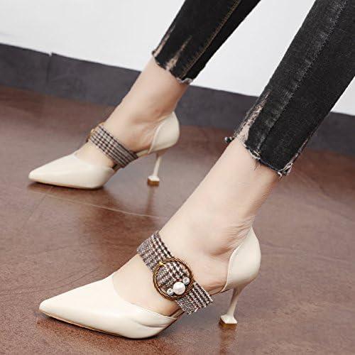Xue Qiqi Court Schuhe Toe Kopf einzelne Schuhe Mode Gürtelclip Pearl light Die high-heel Schuhe braun video Thin
