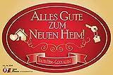 Pegatina con texto en alemán'Alles Gute zum neuen Heim', etiqueta para inauguración para mudanzas o para botellas de champán y vino, ovalada