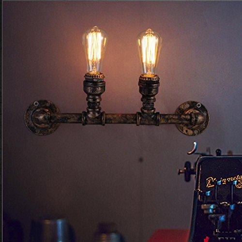 NIHE Industrial Vintage Style Rust Color 2 Heads Water Pipe Lampe murale Water Pipe Light Bars Light Bedroom Room Light Applique murale