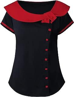 iCJJL Women's Plus Size Top, Short Sleeve Button Up Peter Pan Patchwork T-Shirt