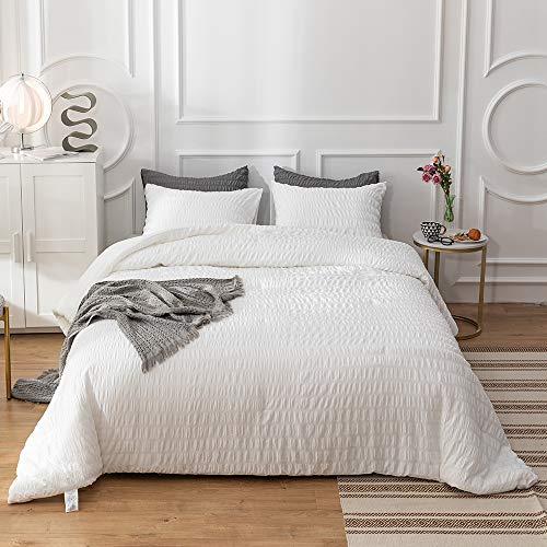 karever White Seersucker Duvet Covers Women Pleat Pleated Bedding Set Comforter Cover Sets Solid White Weave Stripe Bed with Zipper Closure (Full/Queen, White Ruffle)