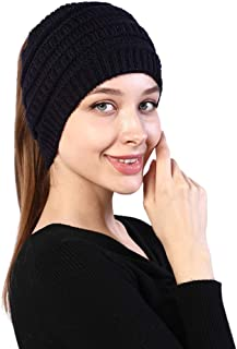 AIRICH Knitted Headband Horsetail Cap Elastic Casual Headband Splicing Crochet Hats Headgear Winter Warmer Hats