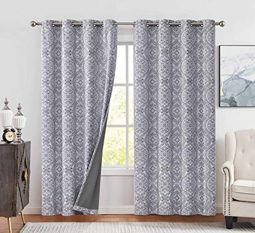 """Muse Dream Full Blackout Window Curtains Gray Patterned Curtains 96 Inch Long for Bedroom Medallion Print European Luxury Window Treatment Thermal Insulated Drapes for Living Room Ring Top,52"""" Wx95 L"""