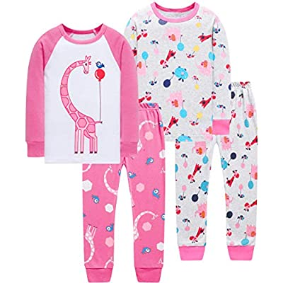 Pajamas for Girls Toddler Kids Shoes Pyjamas Children 4 Pack 4-Pieces Princess Sleepwear Pants Set