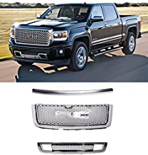 For 2007-2013 GMC Sierra 1500 Denali | ABS Chrome Front Upper Grille + Molding + Lower Grill 3pc | by JX Accessories