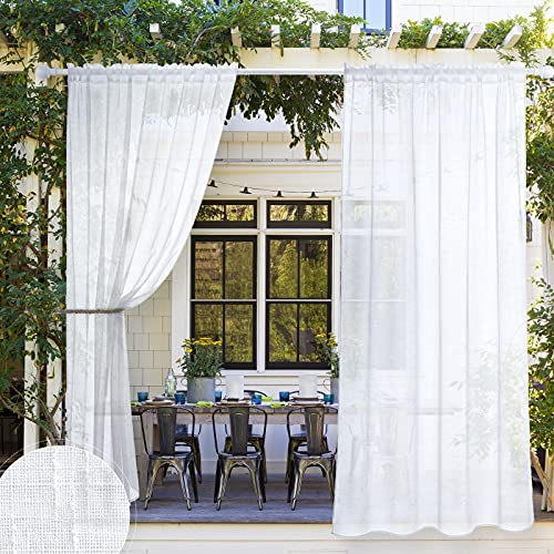 Linen Textured Rod Pocket White Outdoor Sheer Curtain for Patio Waterproof, Indoor Outdoor Privacy Voile Drape for Farmhouse Porch/Pergola, 1 Pair, 54 Inch Wide by 96 Inch Long