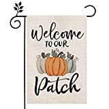 CROWNED BEAUTY Fall Garden Flag Welcome to Our Patch Pumpkin Thanksgiving 12×18 Inch Double Sided Vertical Yard Seasonal Holiday Outdoor Décor CF296-12