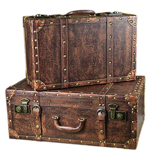 liuzecai Maleta Retro Almacenamiento Maleta Vintage, Retro, Decorativo Caja de Madera con Cuero de la PU, Cofre del Tesoro Joyería Organizador Juego de 2 Equipaje (Color : Brown, Size : Large+Small)