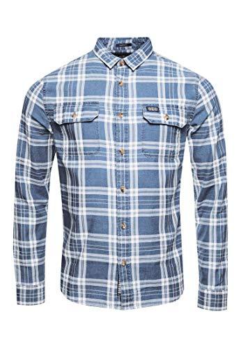 Superdry Herren Merchant Milled Lite L/S Shirt Freizeithemd, Blau (Blue Check QYL), Small