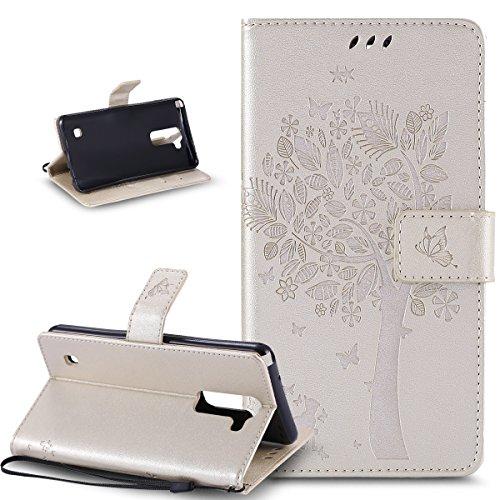 Coque LG Stylus 2,Etui LG Stylus 2,Gaufrage Embosser Chat papillon Fleur Floral arbre Housse en Cuir PU Etui Housse en Cuir Portefeuille de Protection Flip Case Etui Coque pour LG Stylus 2 LS775,Or