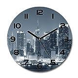 Tulup Orologio Da Parete In Vetro 30cm Decorativo Nero - Manhattan New York