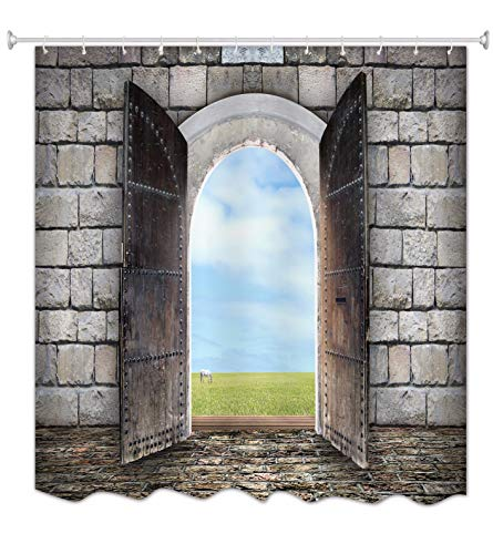 A.Monamour Cortinas de Ducha Antiguo Muro De Ladrillo De Piedra Blanca Puerta De Madera Abierta Arco De Hadas Verde Hierba Caballo De Tierra Estampado De Animales Tela Poliéster Cortina De Ducha