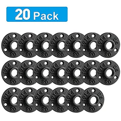 "1/2"" Floor Flange, Home TZH Malleable iron Pipe Fittings for Industrial vintage style, Flanges with Threaded Hole for DIY Project/Furniture/Shelving Decoration (20 Pack)"