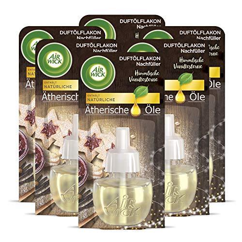 Air Wick Duftölflakon Nachfüller Himmlische Vanillesterne – Frischer Raumduft mit ätherischen Ölen – 6er Duftöl Set